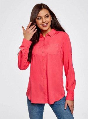 Блузка с нагрудными карманами и регулировкой длины рукава