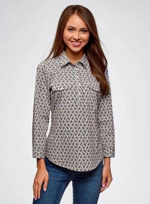 Рубашка принтованная с нагрудными карманами