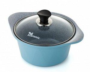 Кастрюля Ecoramic 20 см (голубая) с каменным антипригарным покрытием