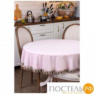 Скатерть круглая роскошь d160 см, 100% п/э, кисти,розовый, велюр