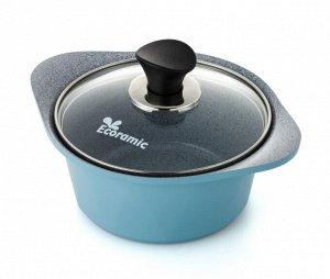 Кастрюля 1 л. Ecoramic 16 см (голубая) с каменным антипригарным покрытием с крышкой