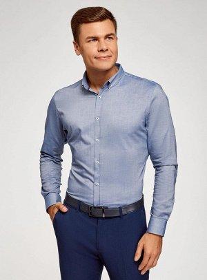 Рубашка приталенная с длинным рукавом