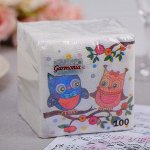 Салфетки бумажные «Гармония цвета. Совы», 100 шт. 4807908