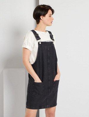 Платье без рукавов из джинсовой ткани