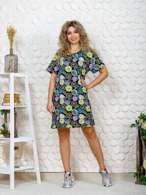 """752/1 Платье""""апельсин/сиреневый"""""""