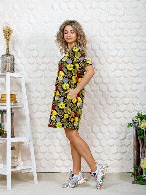"""752/1 Платье""""апельсин/малиновый"""""""
