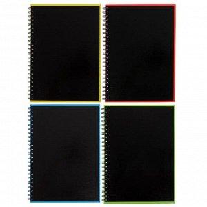 Тетрадь А4, 120 листов в клетку на гребне ErichKrause Accent, обложка мелованный картон, глянцевая ламинация, тиснение лён, блок офсет, МИКС
