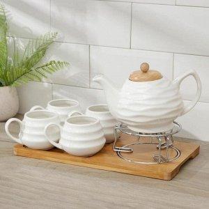 Набор чайный «Эстет» на деревянной подставке, 5 предметов: чайник 1 л, 4 кружки 150 мл