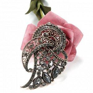 Винтажная серая брошь в форме цветка с кристаллами