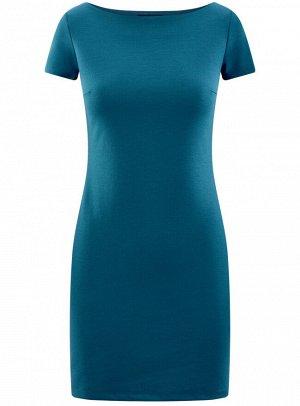 Платье трикотажное с вырезом-лодочкой
