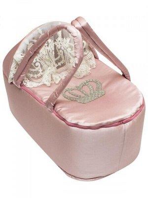 """Люлька-переноска для новорожденного """"Королевская"""" (розовая с молочным кружевом и стразами)"""