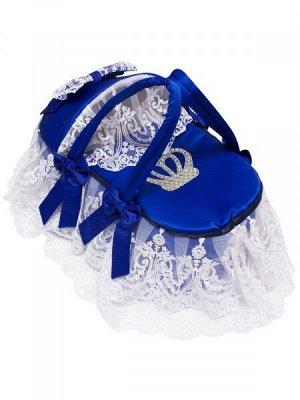 """Люлька-переноска для новорожденного """"Императрица"""" (синяя с белым кружевом и стразами)"""