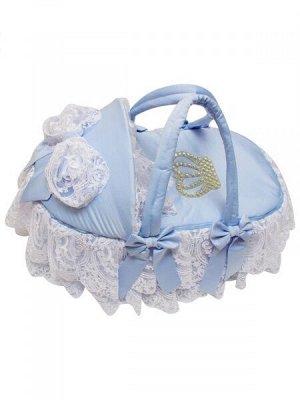"""Люлька-переноска для новорожденного """"Императрица"""" (голубая с белым кружевом и стразами)"""