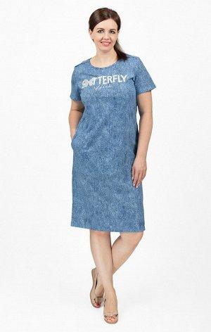 """Платье с карманами, принт """"Batterfly"""", индиго джинса (713-4)"""