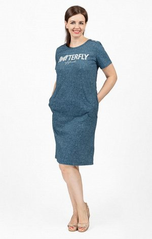 """Платье с карманами, принт """"Batterfly"""", индиго рубчик (713-3)"""