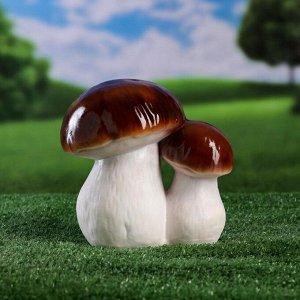 """Садовая фигура """"Пара белых грибов"""", белый цвет, 18 см"""