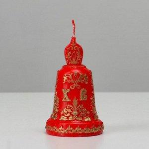 """Свеча резная """"Пасхальный колокольчик"""", красный, 7х11 см, 140 гр"""