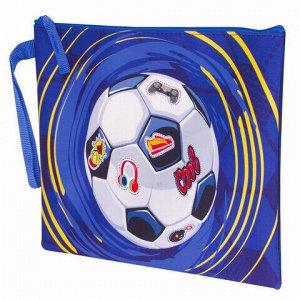 """Папка для тетрадей BRAUBERG, А5, 1 отделение, ткань, молния сверху, """"Football"""", 229409"""
