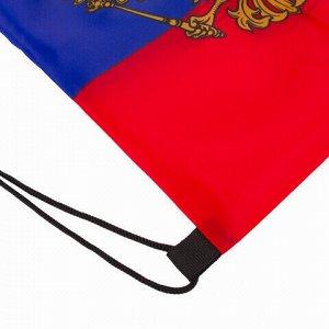 """Сумка-мешок на завязках """"Триколор РФ"""", с гербом РФ, 32х42 см, BRAUBERG, 228328, RU37"""