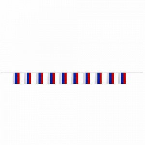 Гирлянда из флагов России, длина 2,5 м, 10 прямоугольных флажков 10х15 см, BRAUBERG, 550187