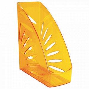"""Лоток вертикальный для бумаг, увеличенная ширина (245х263 мм), увеличенная ширина 110 мм СТАММ """"Тропик"""", тонированный оранжевый, ЛТ360"""