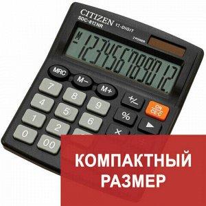 Калькулятор настольный CITIZEN SDC-812NR, МАЛЫЙ (124x102 мм), 12 разрядов, двойное питание