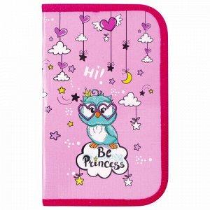 """Пенал ПИФАГОР, 1 отделение, ламинированный картон, 19х11 см, """"OWL PRINCESS"""", 229150"""