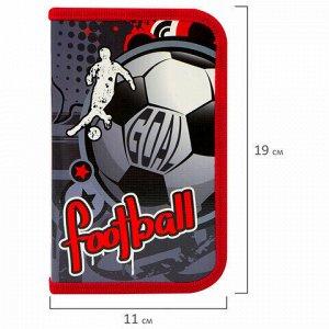 """Пенал ПИФАГОР, 1 отделение, ламинированный картон, 19х11 см, """"FOOTBALL"""", 229148"""