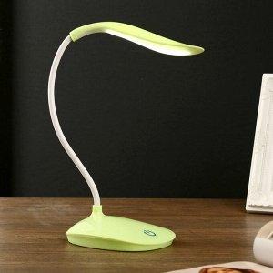 """Лампа настольная сенсор 3 режима LEDх14 """"Капля"""" зелёная USB 42х12.5х10 см"""