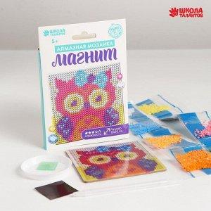 Набор для творчества. Алмазная мозаика магнит для детей «Совушка», 10 х 10 см + ёмкость, стержень, клеевая подушечка