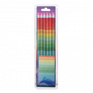 Набор карандашей чернографитных с ластиком 6 штук НВ Радуга