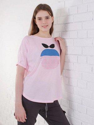Фуфайка Футболка для девочек 11/16 лет. Горловина окантована основным материалом. Силуэт свободный OVER size. На светло-персиковом полотне набит рисунок меланж. Плечо спущено и рукав имеет подворот. П