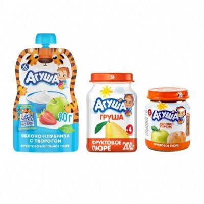 • • Детское питание  • • — Пюре фруктовое Агуша — Вода, соки и напитки