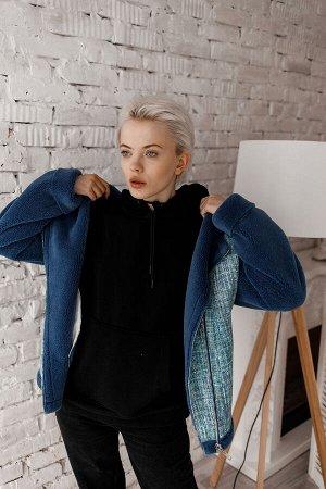 Куртка из экомеха клетка/синий
