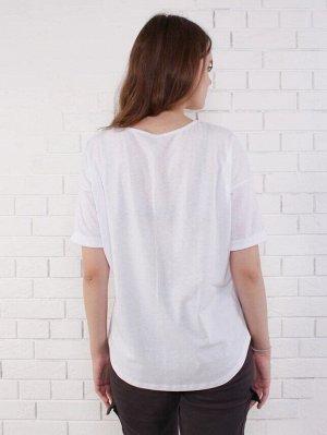 Фуфайка Футболка для девочек 11/16 лет. Горловина окантована основным материалом. Силуэт свободный OVER size.  Плечо спущено и рукав имеет подворот. Принт выполнен в обстрактном  геометрическом исполн