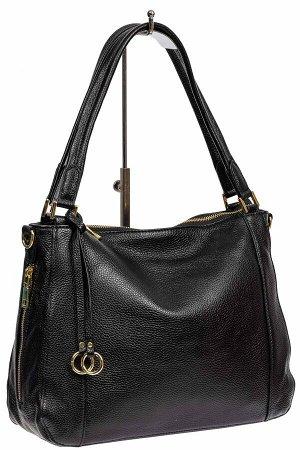 Классическая женская сумка из натуральной кожи с декоративной подвеской, цвет чёрный