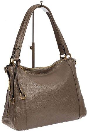 Классическая женская сумка из натуральной кожи с декоративной подвеской, цвет какао