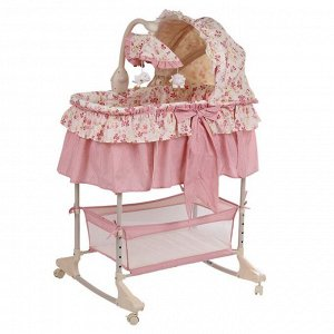 Колыбель-качалка на колесах, PITUSO FLORECITA, цвет розовый
