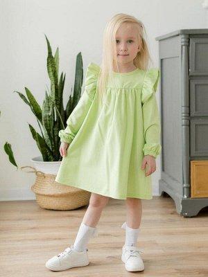 """Платье Платье свободного силуэта, из футера салатового цвета для девочки . Отрезная кокетка, со сборкой по линии груди. Сзади по спинке - застежка-молния. Длинные рукава украшены двойными воланами-""""кр"""