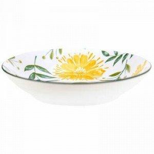 """Желтые цветы"" Тарелка глубокая фарфоровая д205мм h43мм, 700"