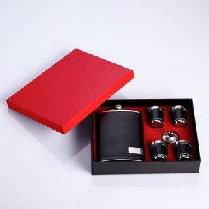 """Подарочный набор 6 в 1 """"Классика"""": фляжка 270 мл + воронка, 4 рюмки"""