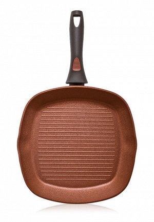 Сковорода-гриль с антипригарным покрытием, цвет терракотовый, 28см