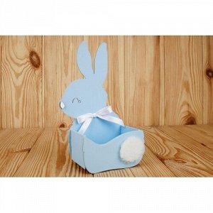 """Подарочная упаковка-конверт """"зайка"""" малый (13*7,5*22) мдф 3мм, окрашен., оформл., голубой пастель-белый"""