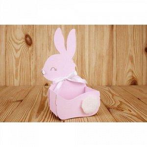 """Подарочная упаковка-конверт """"зайка"""" малый (13*7,5*22) мдф 3мм, окрашен., оформл., розовый пастель-белый"""