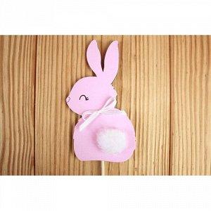 """Топпер """"зайка"""" 6*11 см мдф 3мм, на шпажке, розовый пастель-белый"""