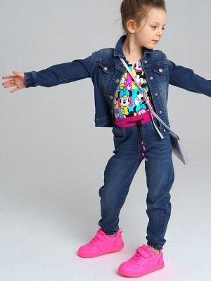Брюки текстильные джинсовые для девочек