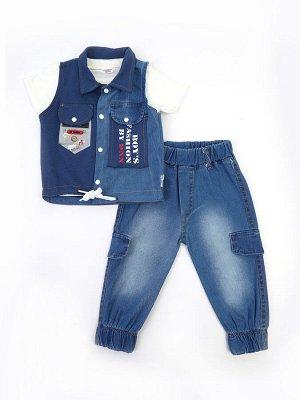 Комплект для мальчика: футболка, брюки джинсовые и жилет