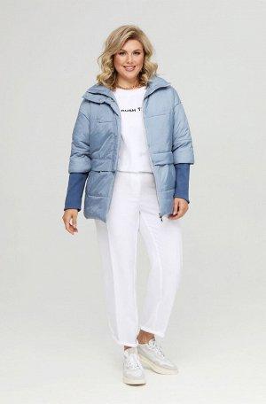 Куртка Куртка Pretty 1956 голубой джинсовый  Состав: ПЭ-100%; Сезон: Весна Рост: 164  Женская куртка, выполненная из плащевой ткани на тонком синтепоне с горизонтальной стежкой. Куртка на подкладке.З