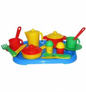 "Набор посуды на 2 персоны, ""Настенька"" с подносом 31х25,8х9,5 см.43"