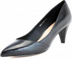 Туфли-лодочки на низком каблуке черные